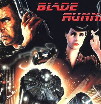 A movie poster from the original Blade Runner movie. Harrison Ford a nd Sean Young appear in the futuristic scene.