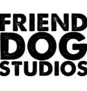 Friend Dog Studios logo. Bold black letters on a white background in block formation,