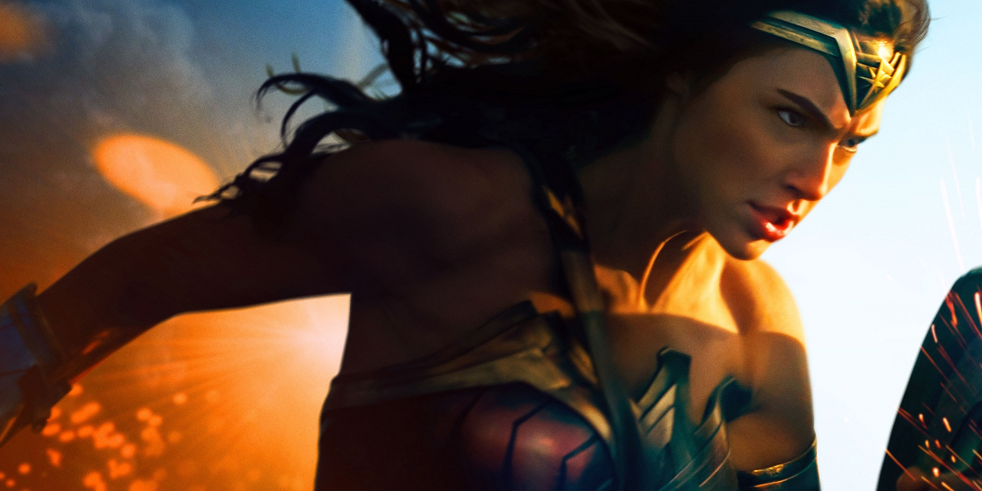 Wonder Woman leaps through the air, a striking sunset in the background, holding her sword and shield.