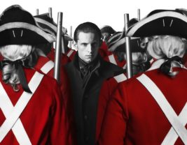 Line of Red Coat British Soldiers in the Revolutionary War with Abraham Woodhull standing defiantly amongst them.