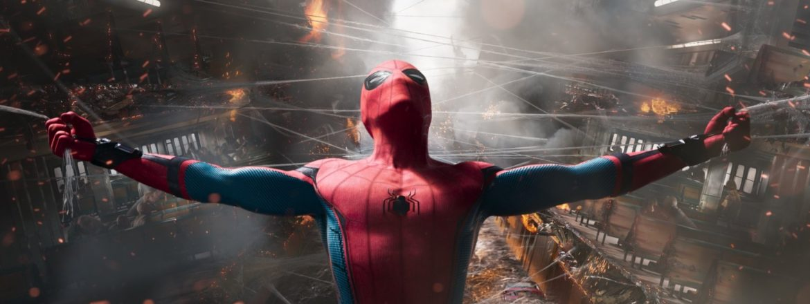 A picture of Spider Man hanging from electrical lines with both hands with a demolished building in the background.