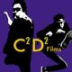 Reverse negative pictures of actors Davis De Rock and Chad Crenshaw in Karate poses in front of a bright purple background with the words C2D2 Films is bright yellow in the foreground.