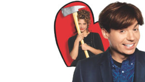 "A movie poster for ""So I Married an Ax Murderer"" with Mike Myers in the forground, smmiling and Nancy Travis, framed by a red heart, smiling and weilding an ax."
