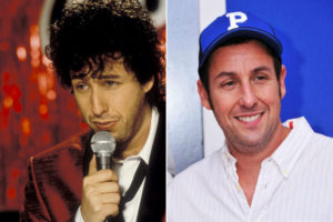 A double picture of Adam Sandler as the Wedding Singer and a normal Adam Sandler in a baseball cap.
