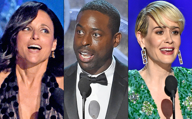 Three close up pictures of 2016 Emmy winners, Louis-Dreyfus, Sterling Brown and Shailene Woodley on stage giving their acceptance speeches in the 2016 Emmys.