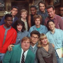 A group picture of the cast of Saturday Night Live, 1992, including Chris Rock, Adam Sandlern and others.