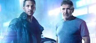 A picture of Ryan Gosling and Harrison Ford in a dystopian city of neon and blue hues.