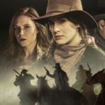 "A movie poster for ""Godless"" featuring portraits of three of the female characters, while below cowboys ride their horses, guns drawn."