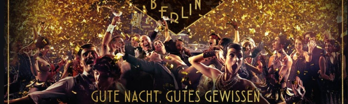 A picture of dancers in a 1920's Berlin jazz club, wild and crazy, dancing and drinking. The captions are in German.