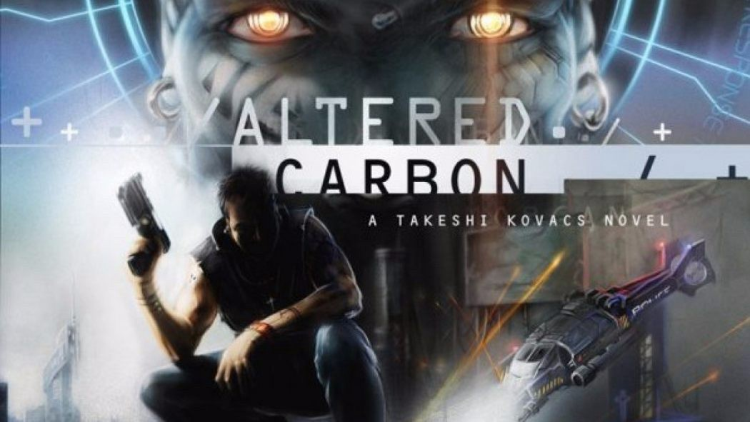 "A promotional poster for ""Altered Carbon"" with the title of the show, the main character sloching down with a gun in his hand, and the scary glowing eyes of 'the protectorate' in the background."