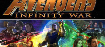 A movie poster of Avengers Infinity War with Thanos in the center and the other characters surronuding him