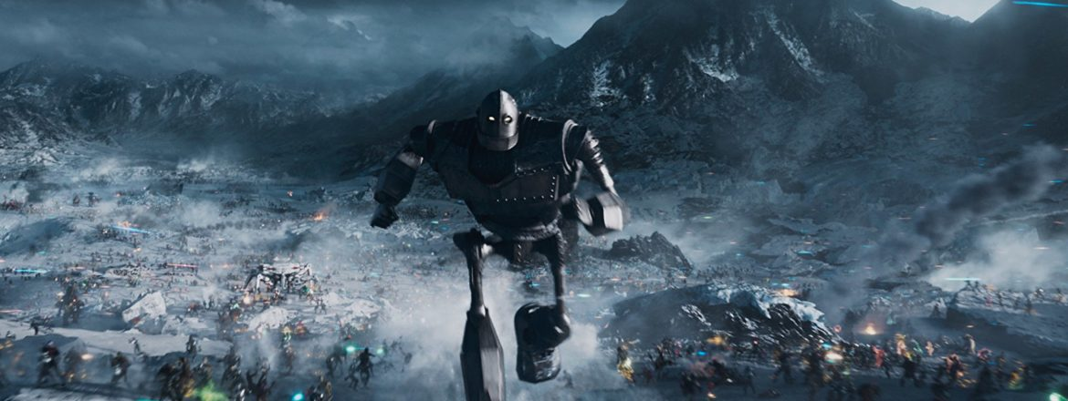A picture of a large robot running towards the screen in shades of blue and grey. From the movie Ready Player One.