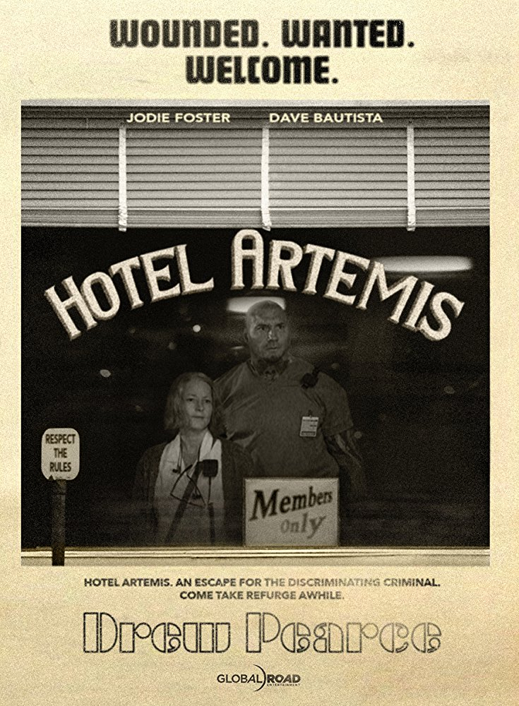 "Vintage looking movie poster for ""Hotel Artemis"" with a man and woman looking out of a large store front window with the words 'Hotel Artemis' written on it."