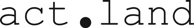 A black and white logo of act.land