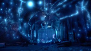 The inside of a spaceship lit with blue firefly light. A figure of a man stands in the distance.