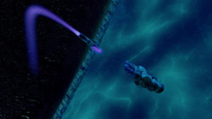 A nuclear missile flying through space with a purple jet fuel trail enters a blue and white alien haze to destroy it in space.