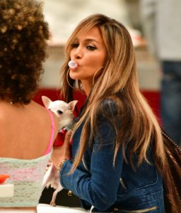Jennifer Lopez sitting at table with a cute white Chiuaua.