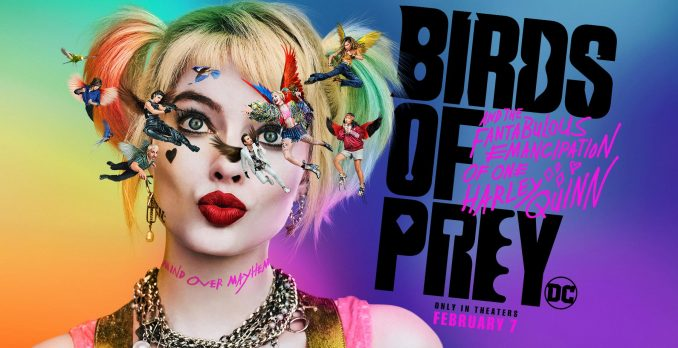 Birds of Prey movie poster in violet blues with lead actress Margot Robbie in a headshot with blinde pig tails and small images of the cast flying around her eyes.
