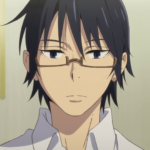 """A close up picture of Satoru Fujinuma, an anima character in the show, """"Erased"""". He is Asian with a heart shaped face, wearing glasses and short, black hair."""