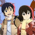 Characters from Erased, an asian boy and girl with black, short hair, walking outside in snow.
