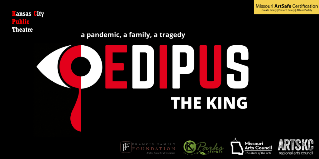 A poster of the play Oedipus, The King with a black background, and red and white capital letters.