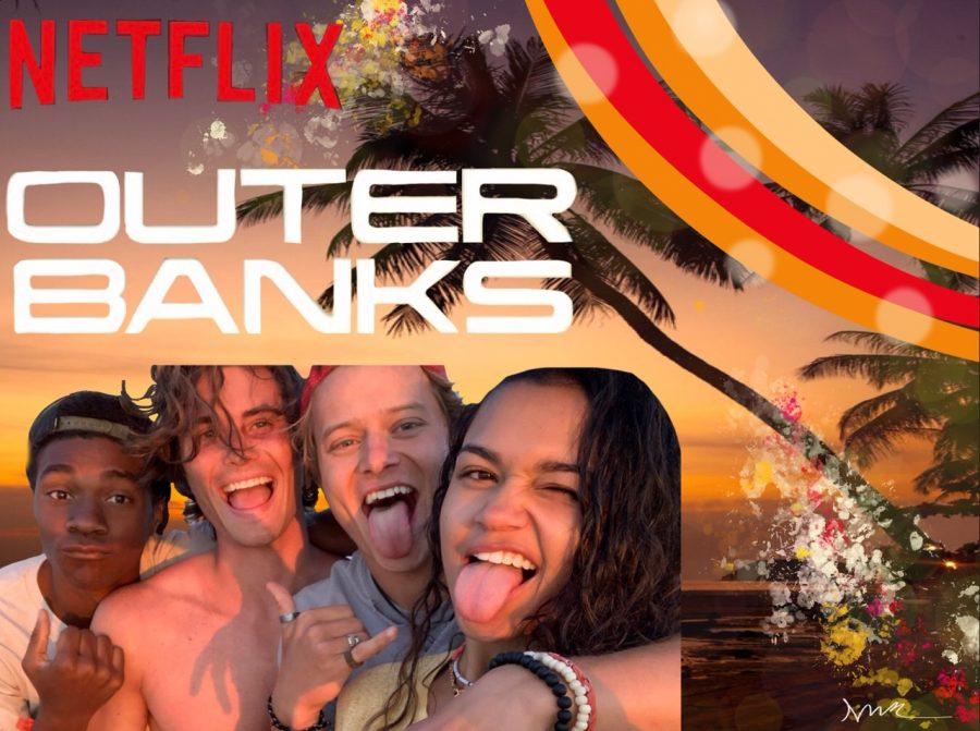 A close up picture of the the cast of Outer Banks, smiling and sticking their tongues out. The title is in all white capital letters with 'Netflix