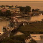 An areal shot of the Outer Banks' buildings and waterways.