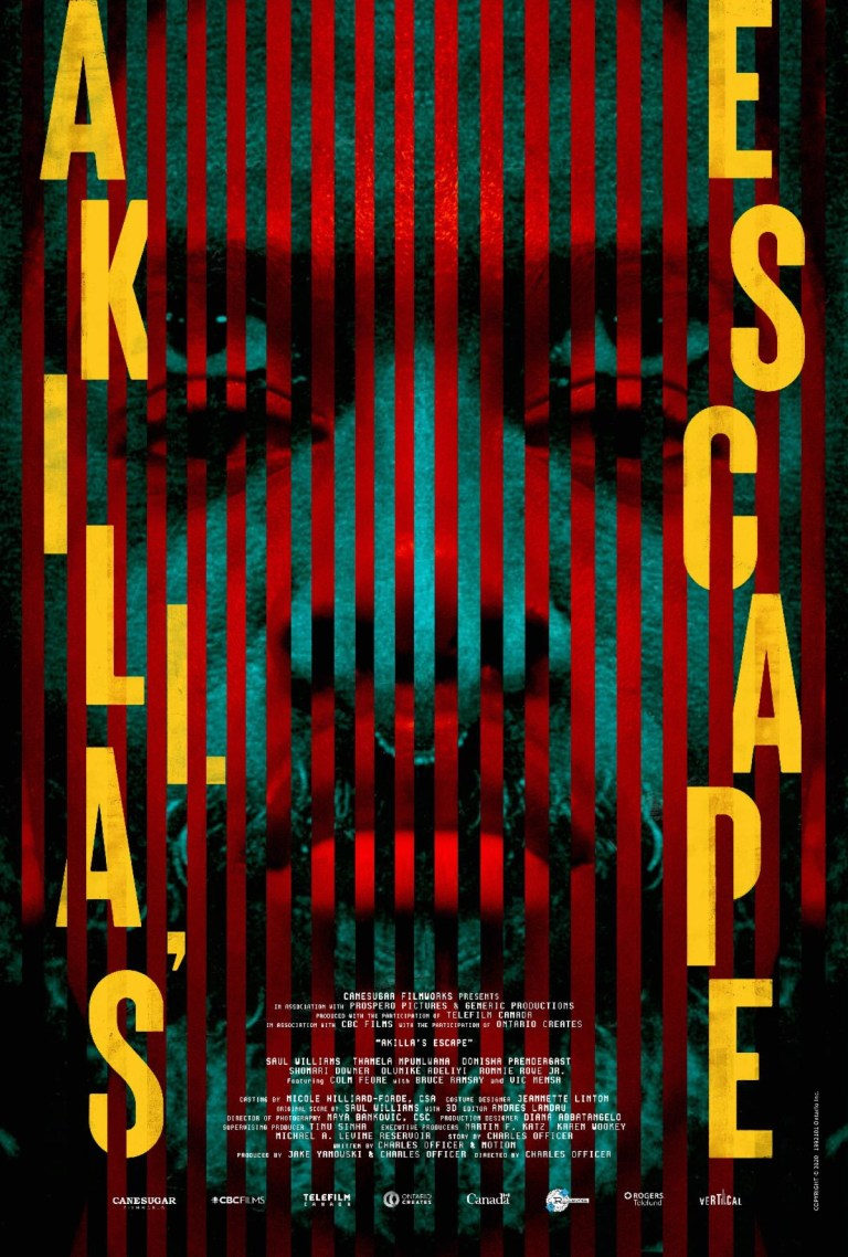 A movie poster for Akilla's Escape. A closeup of a black man with red stripes vertically down the poster and the words Akilla's Escapes vertically down the poster on either side in bright yellow letters.